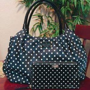 "Kate Spade Black Polka Dots ""Stevie"" Bag w/wallet"